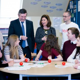 Eduction Minister with the Ballakermeen Students